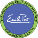 Emily Post Institute certification badge for children's etiquette