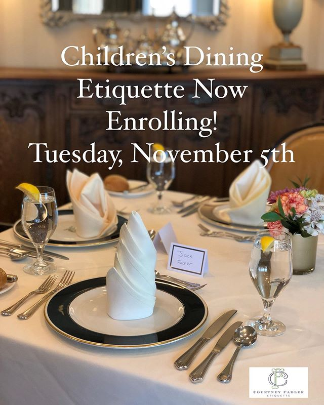 Coming up in 1 week! 🍽 Just a few spots left for this dining etiquette course for ages kindergarten and up! And a great chance to brush up on those dining manners before the busy holidays ahead🍗🥧. Direct message or email at cfetiquette@Gmail.com to reserve spots. More information available online at www.cfetiquette.com  #cfetiquette #etiquette #diningetiquette #emilypost #emilypostinstitute